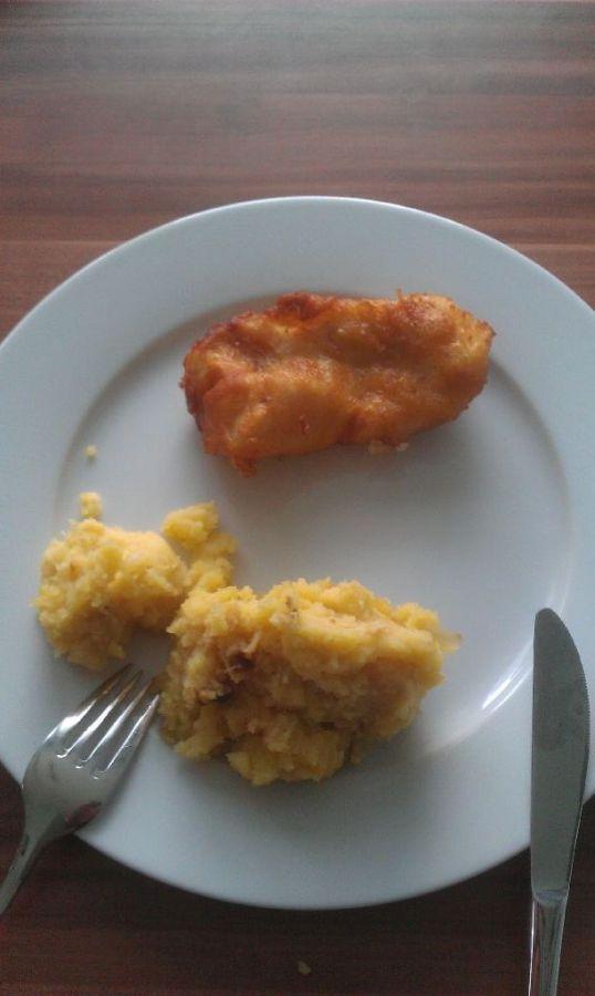 Backfisch mit kartoffelpürre